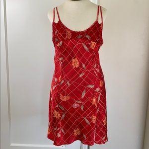 Victoria's Secret red floral silk lingerie slip